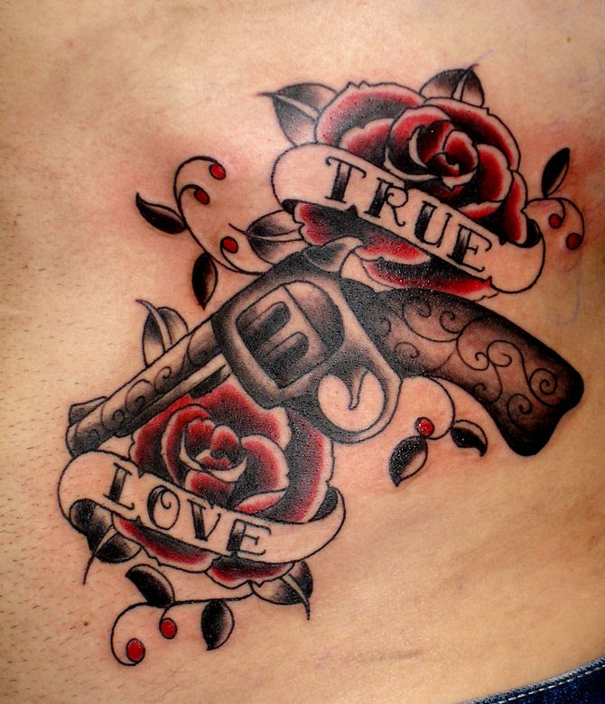 Lettering Tattoo With Guns And Roses Tattoomagz