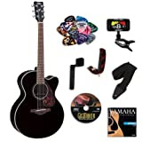 Yamaha FJX720SC Black Medium Jumbo Acoustic-Electric Guitar Bundle w/Legacy Kit (Tuner,DVD, and More)