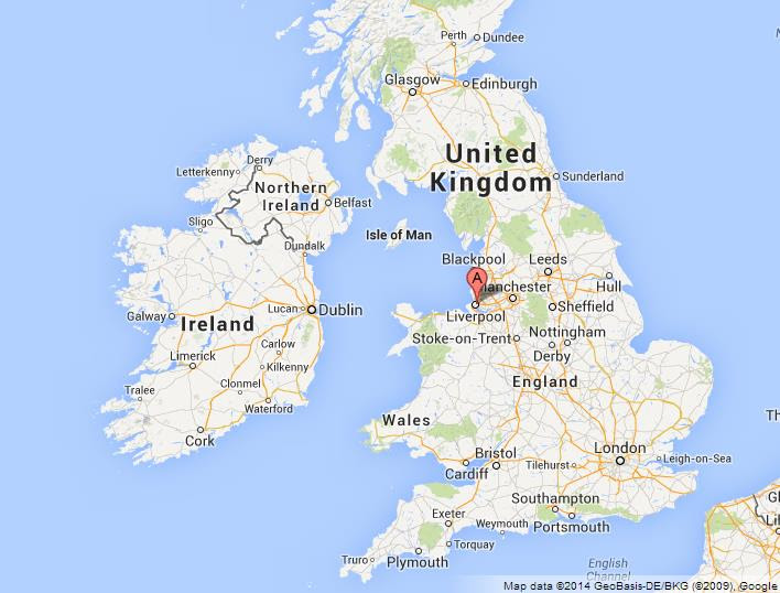 Liverpool on Map of UK