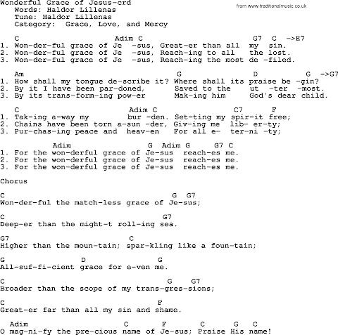 Wonderful Grace Of Jesus Lyrics And Chords