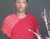 Women's Crochet Fashion Poncho Ponchette Pattern - Red