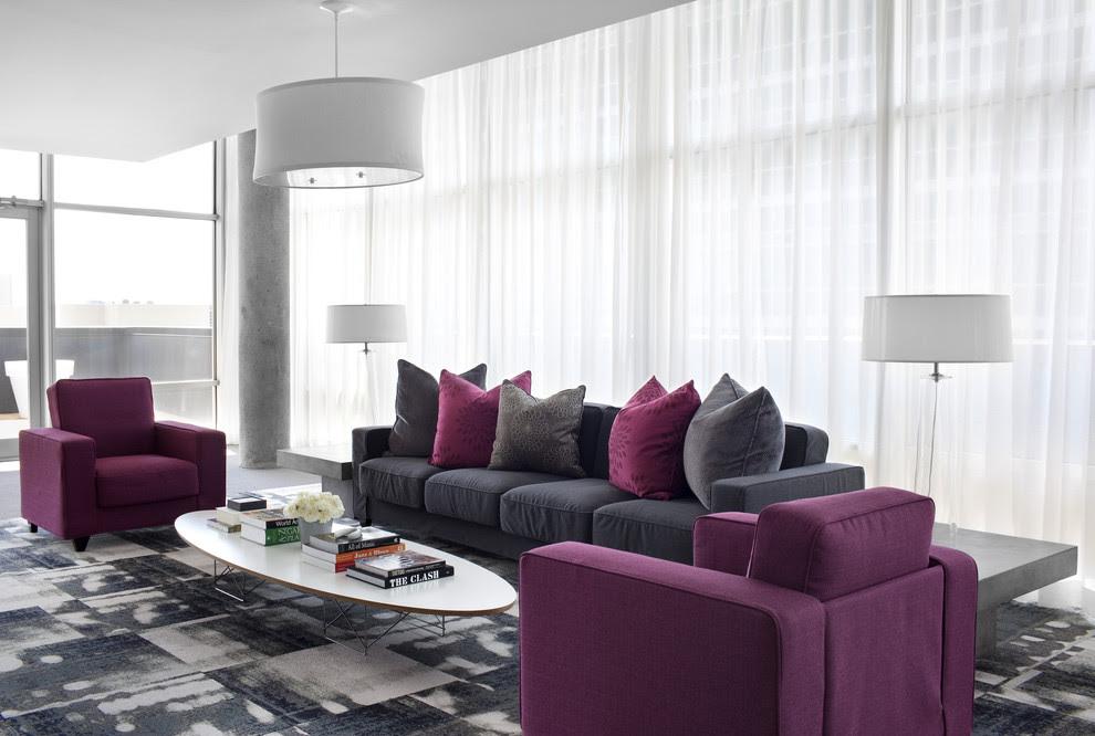 10 Purple Modern Living Room Decorating Ideas - Interior ...