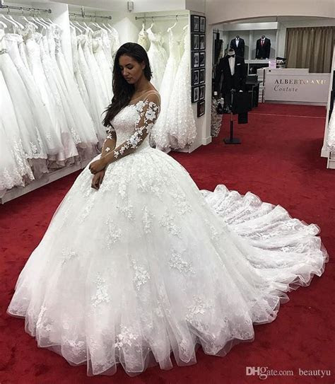 Nigerian Lace Ball Gown Wedding Dresses Long Sleeve Sheer