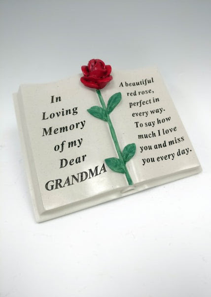 In Loving Memory Of My Dear Grandma Red Rose Detailed Memorial Book