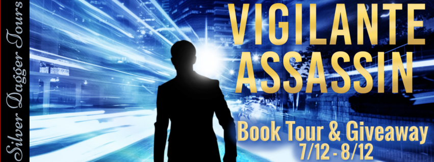 Book Tour Banner for the action thriller, Vigilante Assassin, from the Jack Wolfe with a Book Tour Giveaway