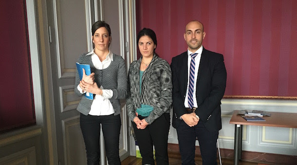 Brenda Vukovic from the OHCHR with Rosa María Payá and Javier El-Hage at Palais Wilson