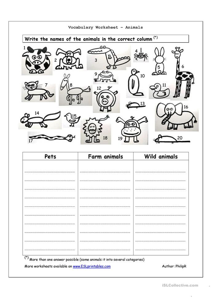 Translations Into Italian: Animal Worksheet: NEW 527 ANIMAL BASIC NEEDS WORKSHEETS