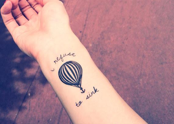 2pcs Hot Air Balloon I Refuse To Sink Anchor Tattoo Inknart