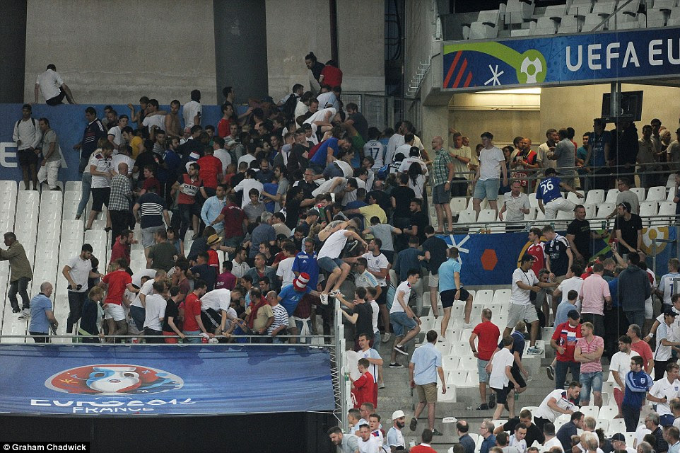 There were unsavoury scenes after the final whistle as fans from England and Russia clashed in the stands at the Stade Velodrome