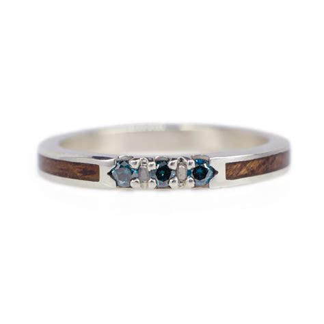 Blue Diamond Wedding Ring In White Gold & Mahogany