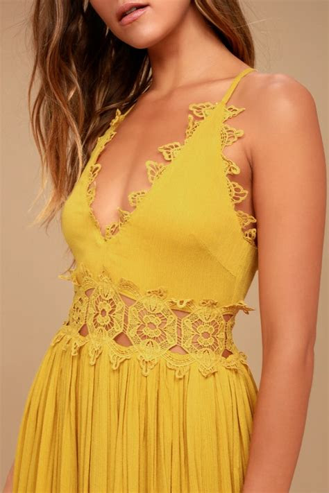 mustard yellow maxi dress lace maxi dress plunge neck
