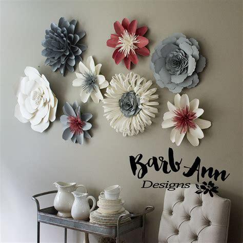 Pink, Gray & Cream Paper Flower Set   Barb Ann Designs