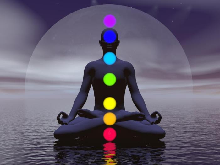 man sitting with chakras