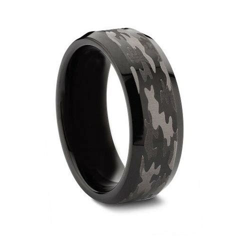 Black TUNGSTEN Camo Ring Hunting Army Camouflage 8mm