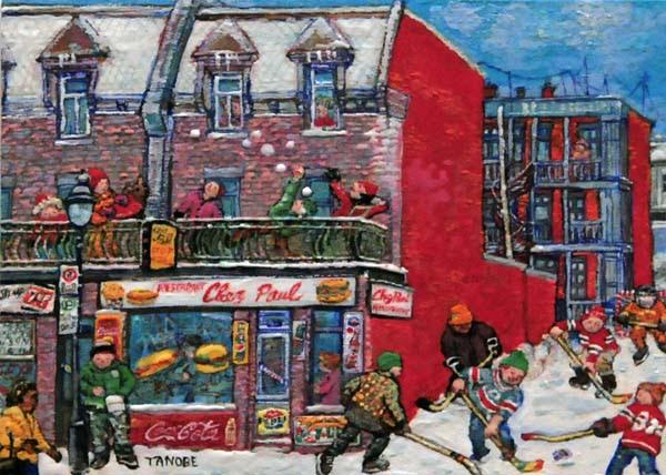 La scène d'hiver à Pointe-St-Charles (Restaurant Chez Paul) - Miyuki Tanobe