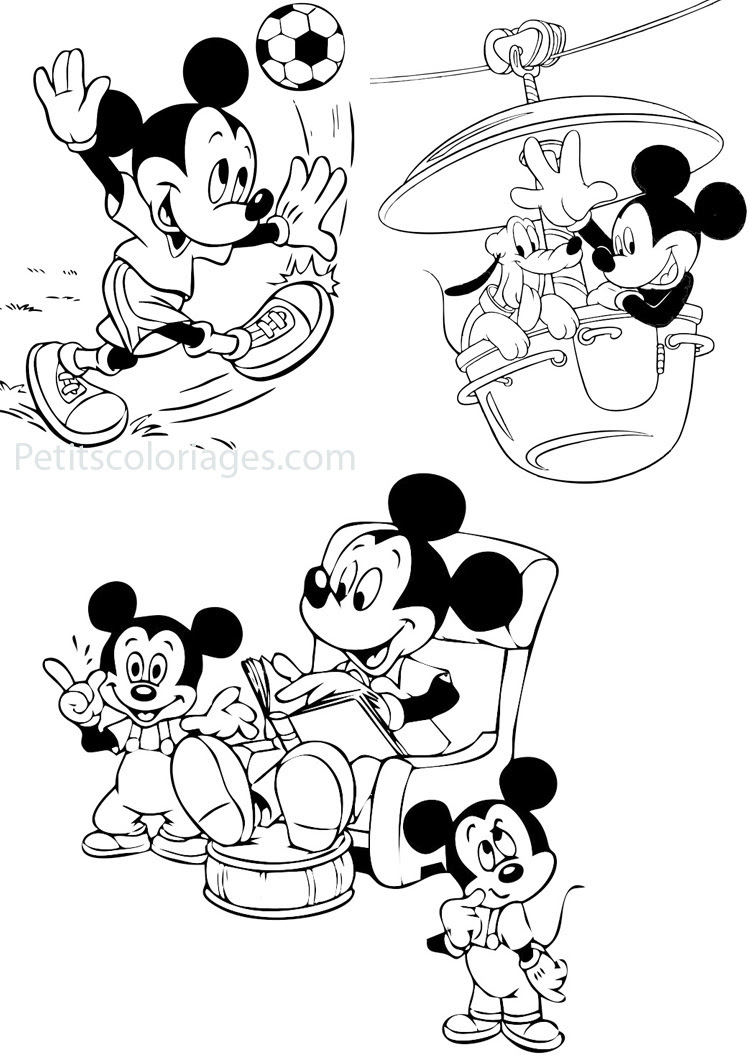 Petits coloriages mickey disney mickey man¨ge histoire ballon foot