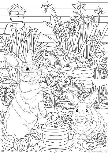 Coloring Pages Of Easter Rabbits - Coloring Pages Ideas