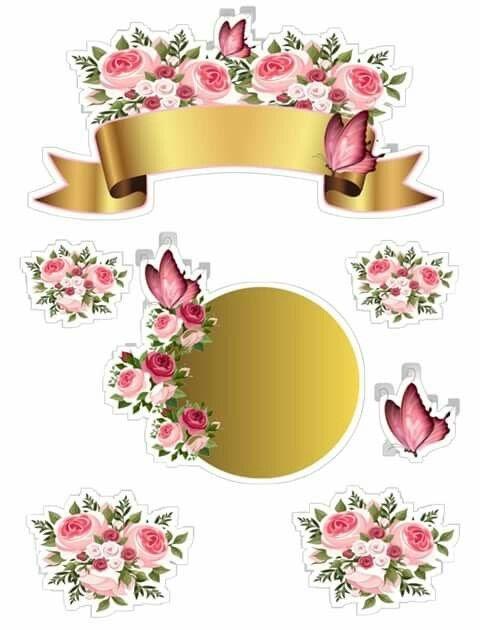 Topo De Bolo Flores Para Imprimir Png