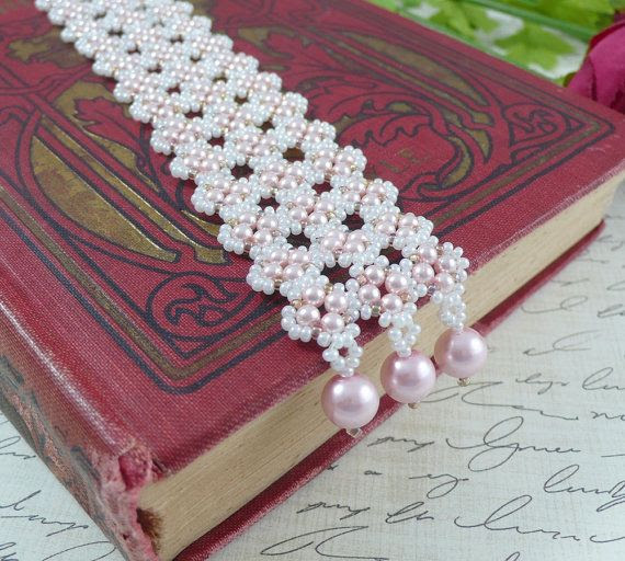 Woven Cuff Bracelet Seed Beads and Pearls in Pink by IndulgedGirl, $28.00