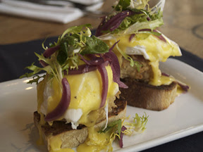 Elate Country Fried Pork Belly Benedict $13 v1 300 dpi