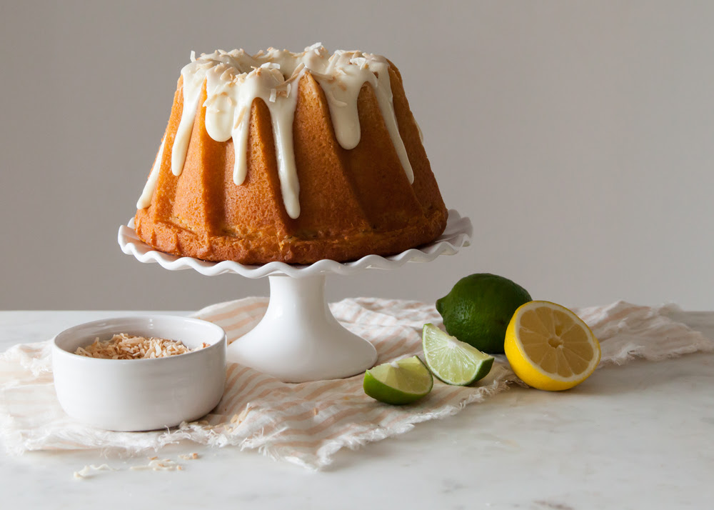 Citrus Bundt Cake with cream cheese glaze and toasted coconut.