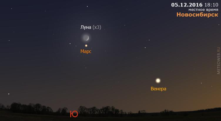 Растущая Луна, Венера и Марс на вечернем небе Новосибирска 5 декабря 2016 г.