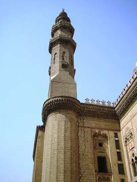 A view of one of the minarets of the mosque