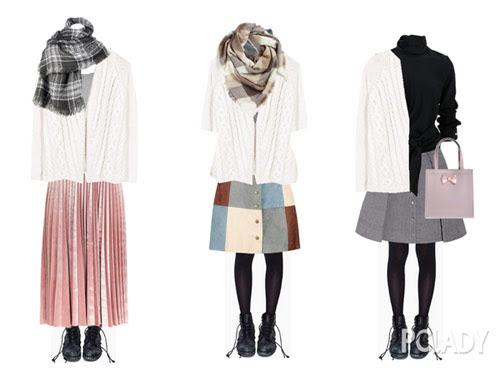 Cùng một chiếc áo len dáng suông, cùng đôi boot cá tính, bạn có thể thay đổi với 2 kiểu váy xếp ly, váy chữ A, váy xòe rất đa dạng