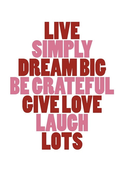 LIVE DREAM LOVE LAUGH / New Inspiring 8x10 Print in Red and Pink