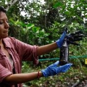 Environmental activist Cyntia Zapata shows a plastic bottle with some oil waste from a pool of waste that Chevron left behind in the fields they operated in the Amazon, Ecuador, Sep. 17, 2013.