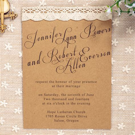 affordable simple country lace wedding invitations EWLS021