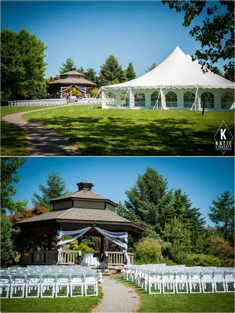Ceremony gazebo and reception tent outdoors at the Webster