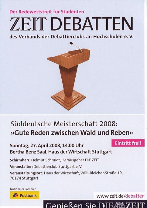 Süddeutsche Debattiermeisterschaft 2008