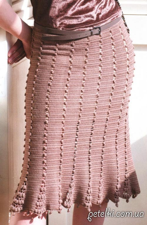 Crochet falda estricta.  Descripción del esquema