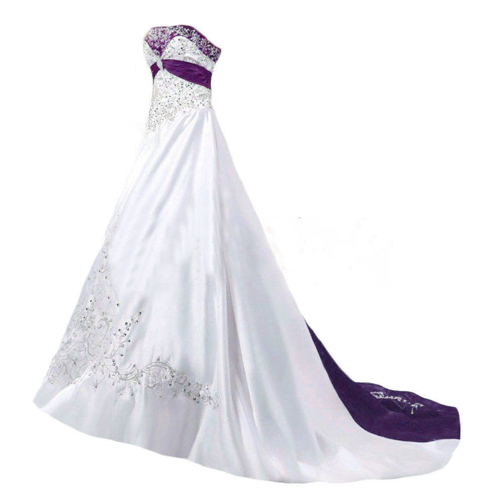 whitepurple satin wedding dresses embroidery beaded