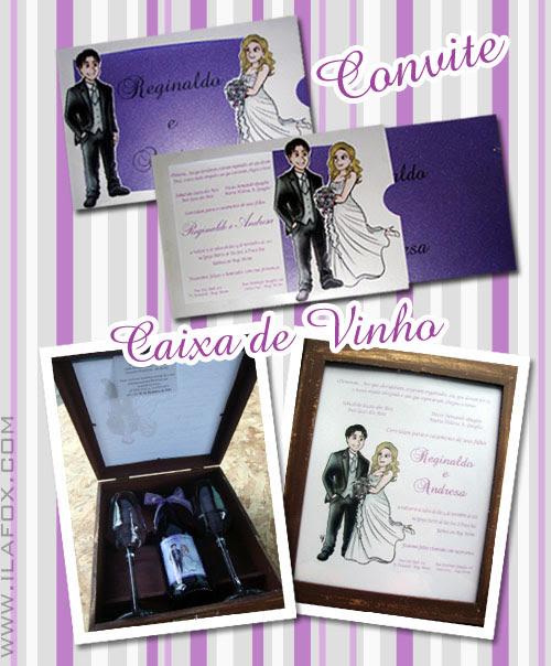 caricatura noivos convite perto longe, caixa de vinhos personalizado, by ila fox