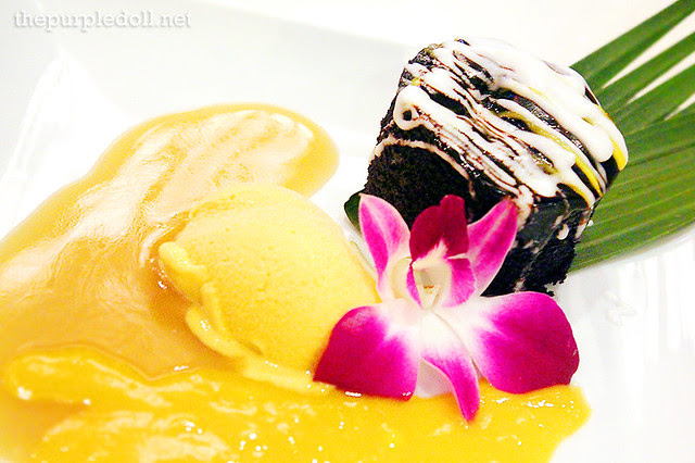 Chocolate Pudding with Mango Ice Cream, Mango Sauce and Kaffir Butterscotch Sauce (P240)