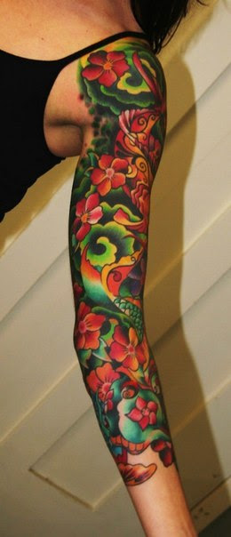 Green Waves And Flowers Tattoo Sleeve Best Tattoo Ideas Gallery