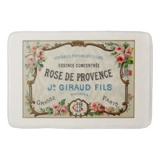 Vintage French Perfume Ad Art Bath Mats