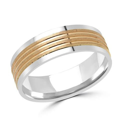 Satin Finish Rose Gold & White Gold Wedding Band   Global