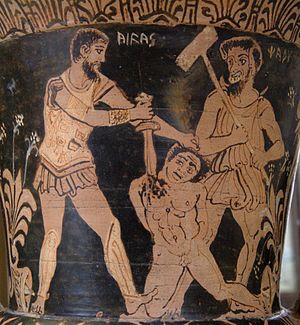 Achilles killing a Trojan prisonner in front o...