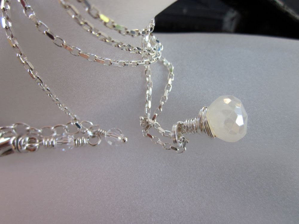 Pearl Chalcedony Onion Briolette, Fine Silver Wire-Wrapped, Sterling Silver-Wintry Whites Necklace