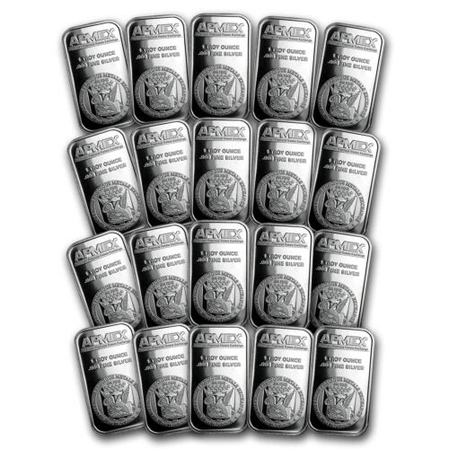 1 oz silver bar - apmex (lot of 20) - sku #117450