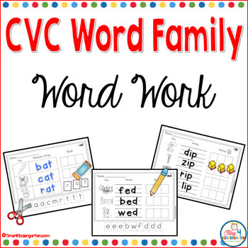 word family work stamping, spelling writing
