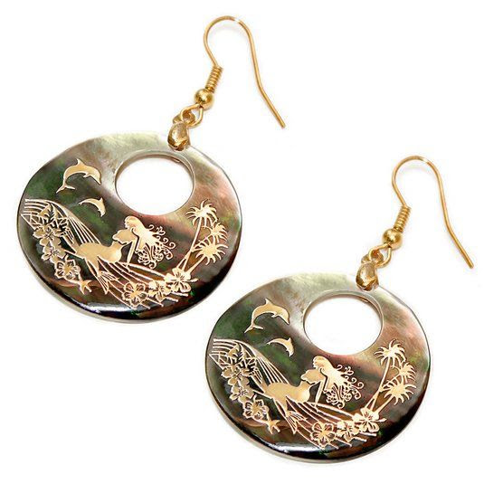 Genuine Shell Earrings - Mermaid Design