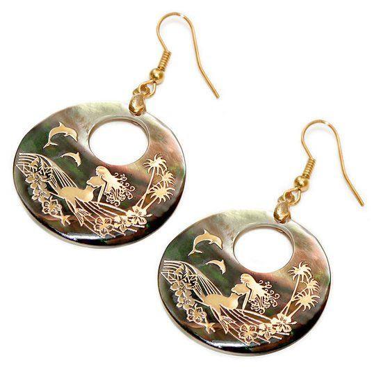 Genuine Shell Earrings - Mermaid Design