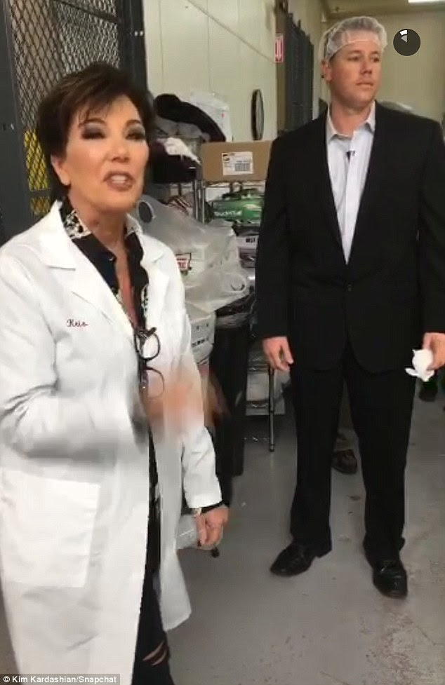 Getting emotional: Kim and Kylie's momager Kris Jenner was also involved in the factory visit - giving workers a pep talk thanking them for producing the kits