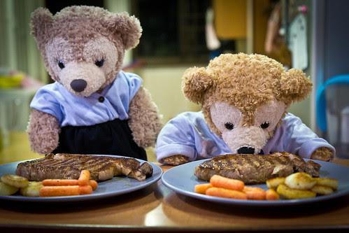 Saute Sliced Potatos & Baby Carrots with Goose Fat