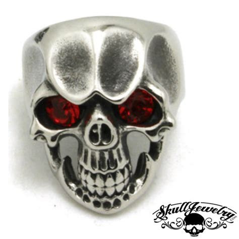 'Ruby Tuesday' Skull Ring with RED Gem Stone Eyes (246