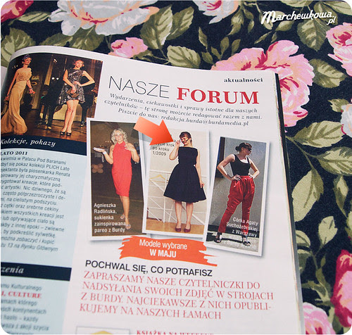Marchewkowa w Burdzie 5/2011, szycie, krawiectwo, sukienka z tafty, przeróbka, spódnica